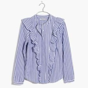 madewell whitney stripe ruffle top NWT xs